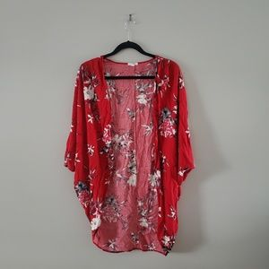 Women's Red and White Floral Kimono Cardigan